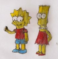 Simpsons children crossdress by Nagato-Yuki-chan
