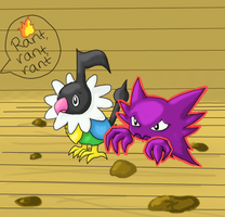 A Haunter and Chatot by GoldFlareon
