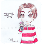 Chibi Xiumin with his paper toy by GiuliaRiotti
