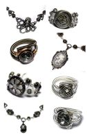 Silver Grey Steampunk jewelry by CatherinetteRings