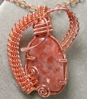Sunstone and Copper Pendant by HeatherJordanJewelry