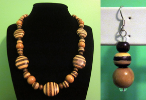 Oval Wood Coco Beads Set by BloodRed-Orchid