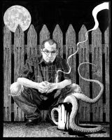 self with coffee and tentacles by baconworm