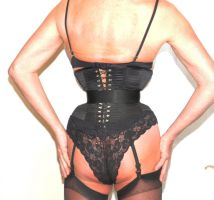 Tight laced corset and a belt over the top. by JamieGrae
