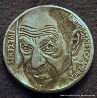 He Trust No One Hobo Nickel Coin Carving by shaun750