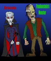 Dracula and Frankenstein by Lordwormm