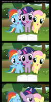 Twilight, Dashie and Fluttershy read a book by DiegoTan
