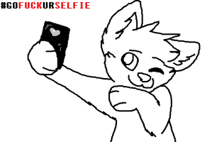 But First, Lemme take a selfie! {LINEART} by Bad-Doge