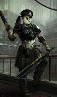 Necromundan Imperial Guard Colonel by warhammer40kcampaign