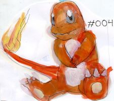 Pokemon Paintings - Charmander by Duckie-Frogs