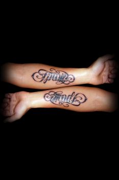 family + friends ambigram by TATTOO-N3RD
