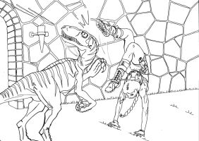 Tomb Raider - Lara Croft vs Velociraptor - lines by Regis-AND