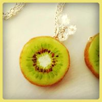 Kiwi Slice Necklace by KawaiiCulture