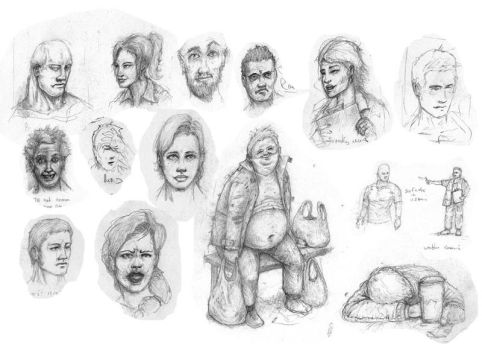 Faces From Train Journey Sketch Book - Funny! by jd84