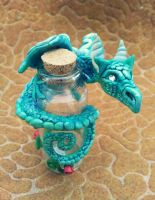 Bottle with Turquoise Dragon by AstridMakosla