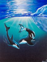 Two Killer Whales by ArtByAndrewHanson