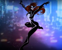 Spider Girl in City Lights by KnightofOA