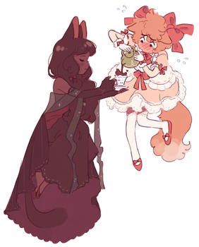 lovly princess + shy waitress by maggikarp
