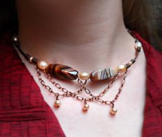 Agate Pearl Chain Necklace by The-Enchanted-Seed