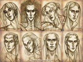 Elven faces by WunderVogel