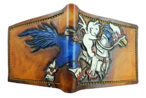 white mage chocobo, blue breed. leather wallet by Bubblypies