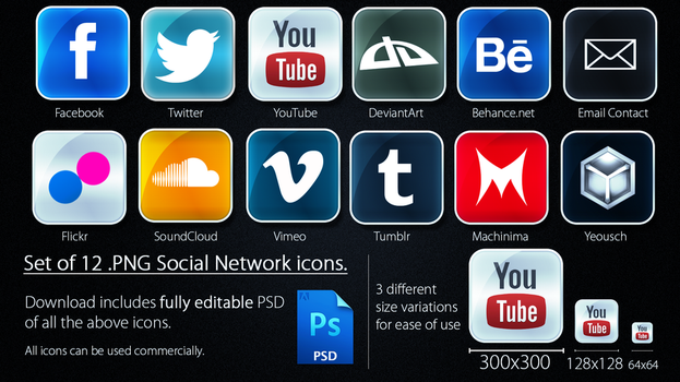 Social Network Icons - 2012 by JSWoodhams