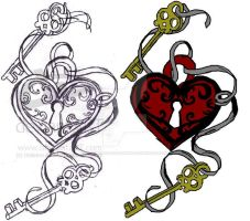 Key Heart Tattoo design by DancingTheTearsAway