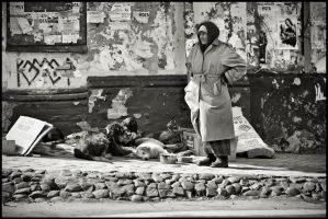 ..woman with dogs by keithpellig