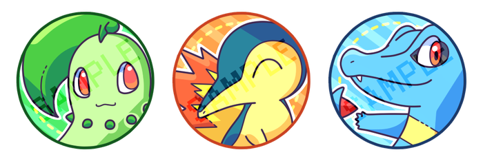 Johto Starters Series 1 Buttons by Asazei