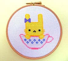 Tea cup Bunny Cross Stitch Yellow by Crafty-lil-vixen