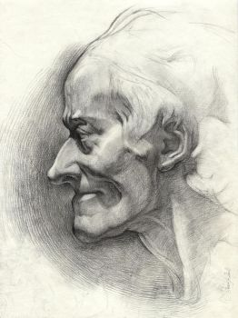 Voltaire. Classical sculpture drawing by OlgaSternik
