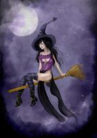 Flying witch princess of the pumpkin fields by BasakTinli