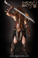 female barbarian leather armor by Lagueuse