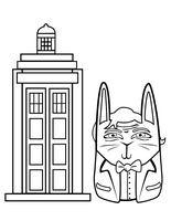 TARDIS coloring Bunny Doctor by lyssagal