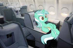 Lyra sitting in Finnair's business class cabin by AdrianImpalaMata