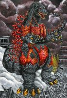 Burning Godzilla by Meliss