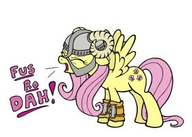 Skyrim Fluttershy - Fus Ro Dah (lighter color) by plaidsandstripes