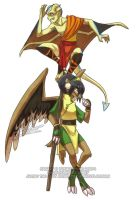 Avatar-Goyles: Toph + Aang by YoukaiYume