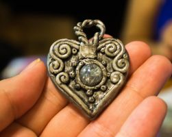Silver Filigree Heart Pendant. by Darxen