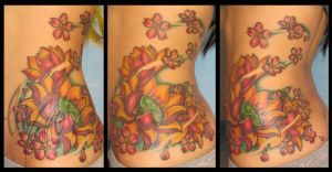 Lotus flower side tattoo by Liz Venom by LizVenom