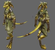 In Dev: Gold Half Dragon Model by Ryuujin-0
