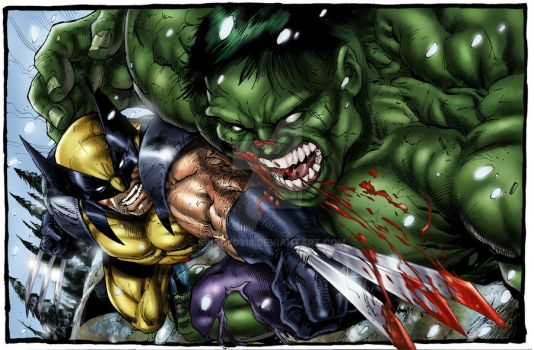 wolverine vs hulk colored by spidey0318