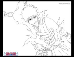 Ichigo turn back to soul society arc lineart by Darkartmind87