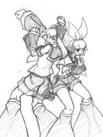 Rin and len tecno sketch by N647
