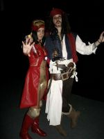 IronMan [Female Version] And Capitan Jack Sparrow by LordProtoMan