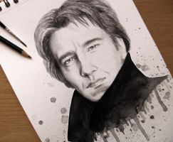 Alan Rickman - Watercolour by BellaLubaja