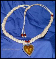 Glass Heart Necklace by Iriesurfinchick