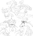 Dragon Character Doodles Uncolored by CrazyGamerDragon64