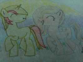 Drawing of Nidera and Dawn Breeze by Knifedera
