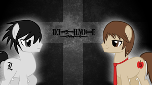 MLP / Death Note Crossover Wallpaper by ShyFlutterPony